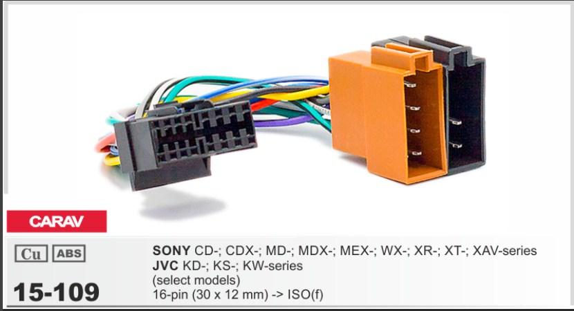 Распиновка разъёма магнитолы JVC ISO переходник CARAV 15-109