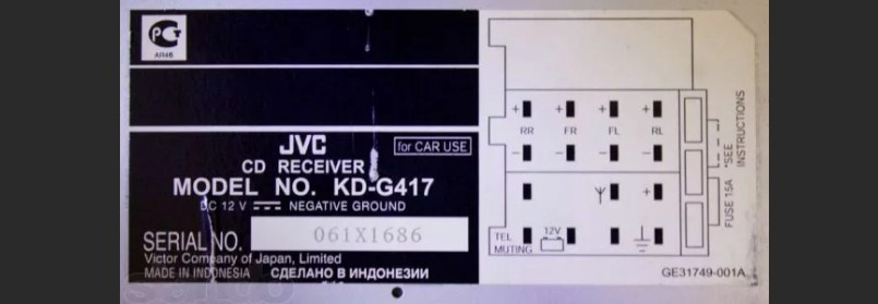 Распиновка разъёма магнитолы JVC KD - g905, dv9505