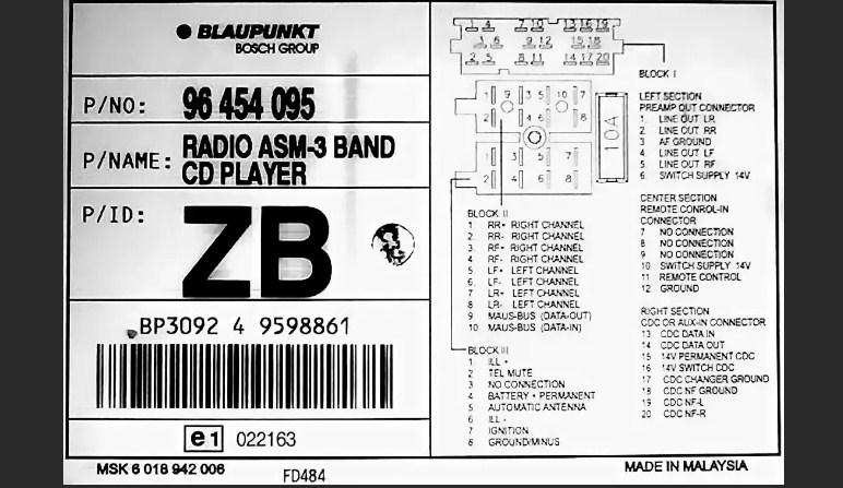 BlauPunkt bp-1043 pinout