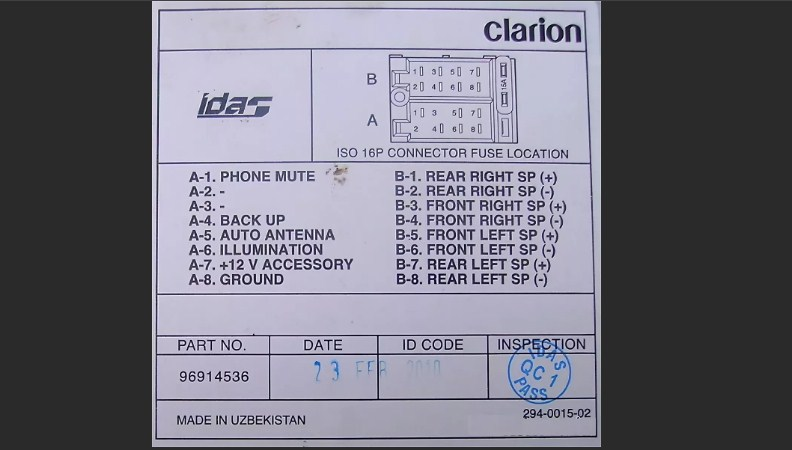 Clarion idas - Daewoo ISO - разъем pinout
