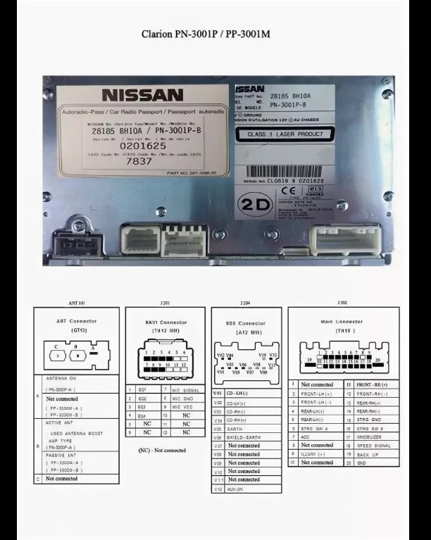 Clarion Nissan pp3001m pinout