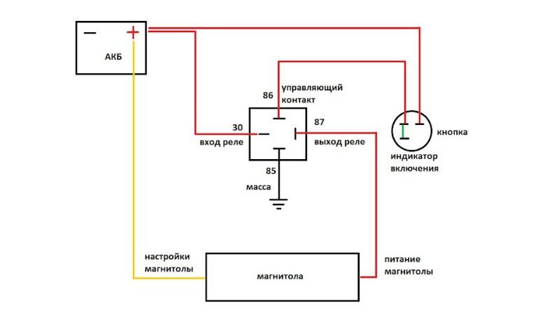 Схема подключения магнитолы для ВАЗ от кнопки