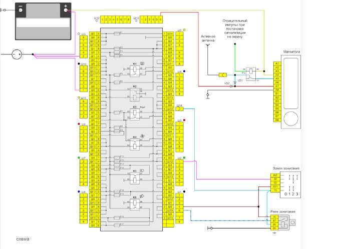 Схема подключения магнитолы для ВАЗ 2101, 2102, 2103, 2104, 2105, 2106, 2107