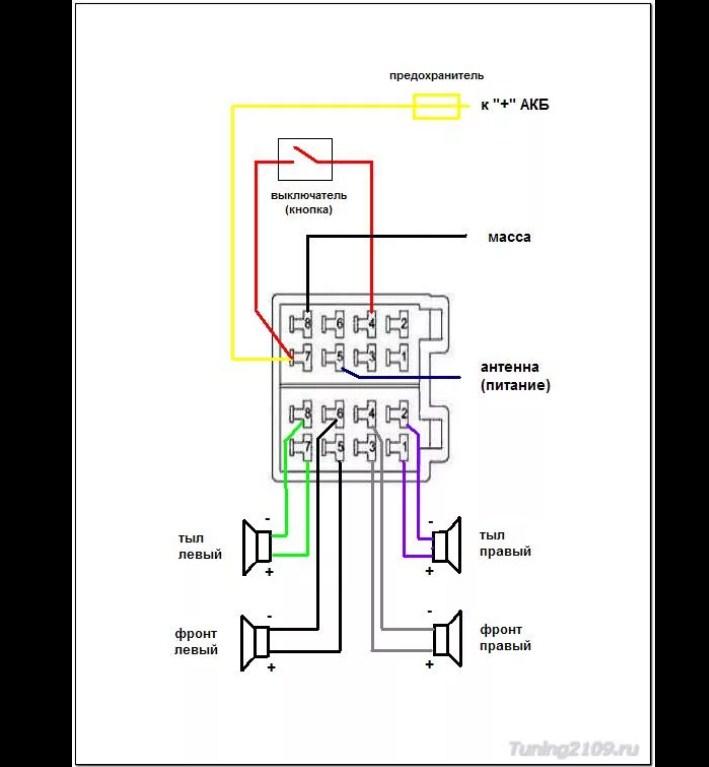 Схема подключения магнитолы для ВАЗ 2109, 2109, 21099