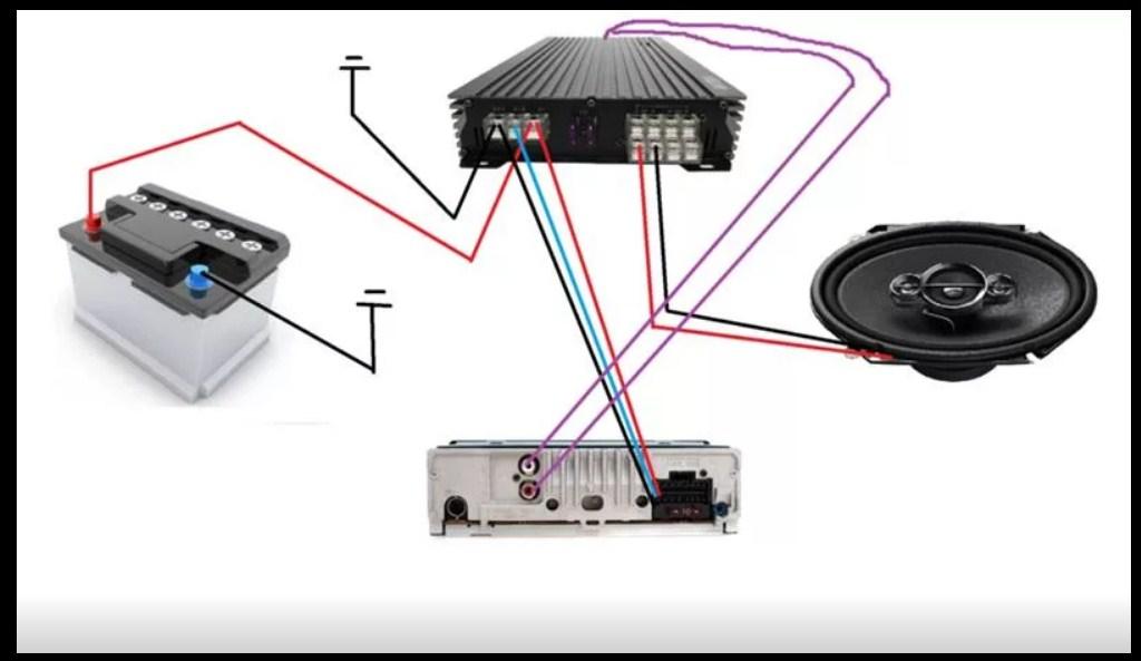 Схема подключения динамиков или сабвуфера от усилителя