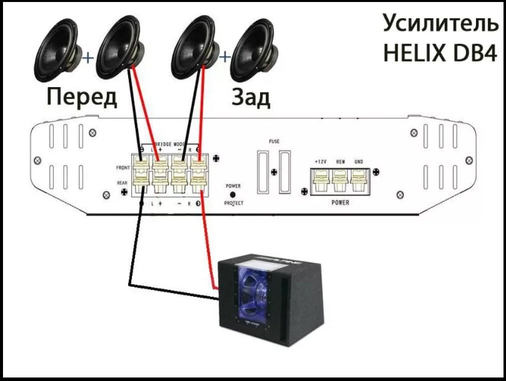 Схема подключения акустики и сабвуфера от усилителя звука