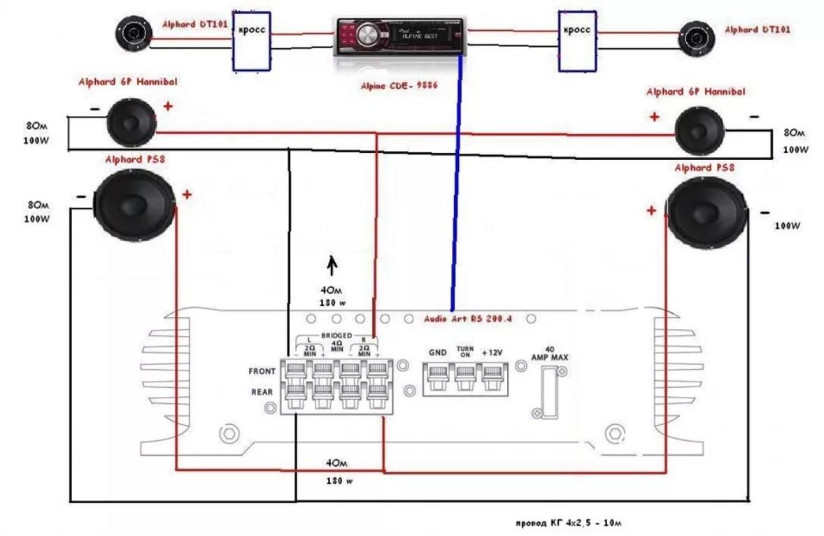 Подключение акустики от усилителя а машине