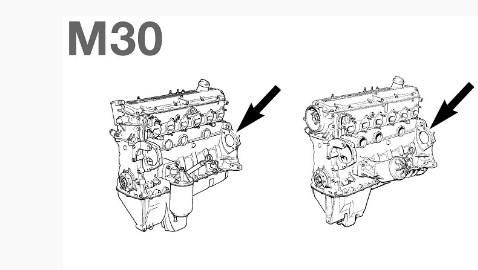 Расположение номера на двигателе BMW m30