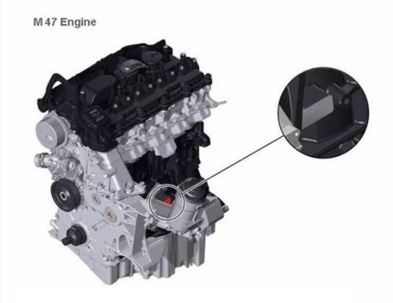Расположение номера на двигателе BMW m47
