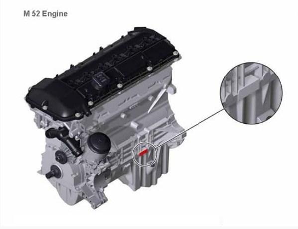Расположение номера на двигателе BMW m52