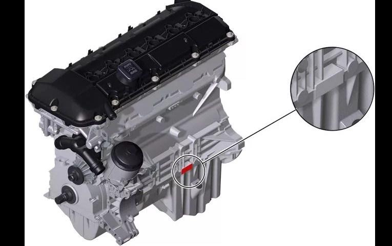Расположение номера на двигателе BMW m54