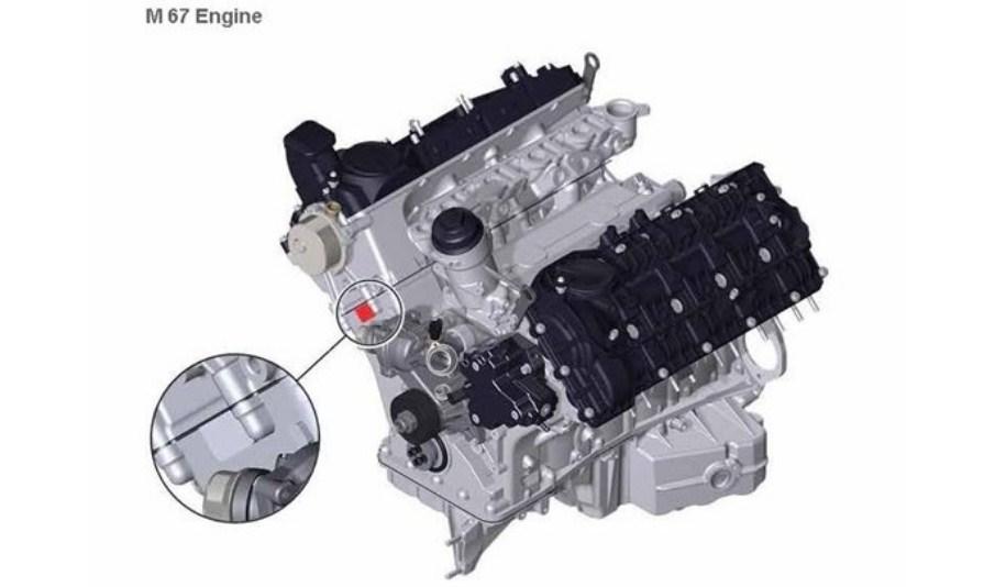 Расположение номера на двигателе BMW m67