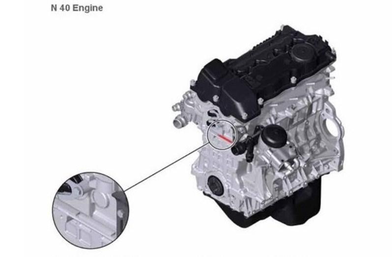Расположение номера на двигателе BMW n40