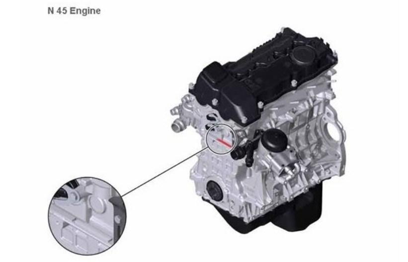 Расположение номера на двигателе BMW n45