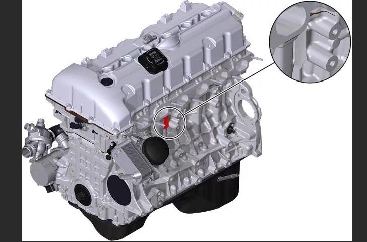 Расположение номера на двигателе BMW n52