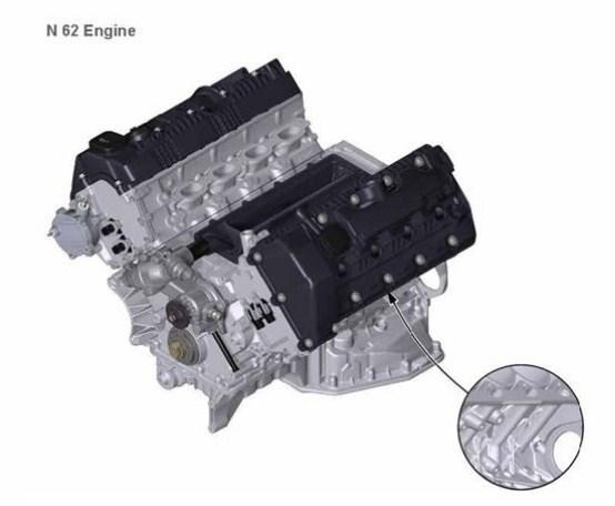 Расположение номера на двигателе BMW n62