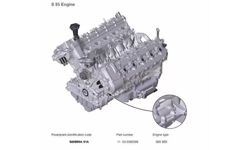 Расположение номера на двигателе BMW s85