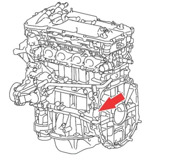 Расположение номера двигателя Toyota 1AR-FE 2.7 л.