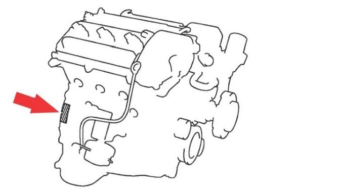 Расположение номера двигателя Toyota 1MZ-FE 3.0 л.