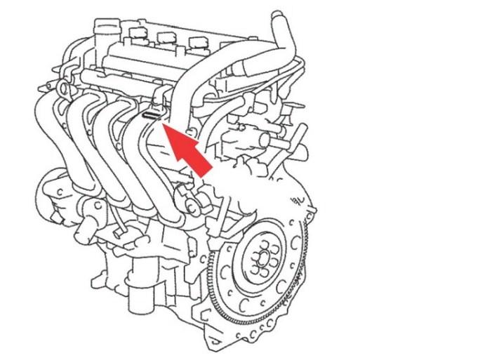 Расположение номера двигателя Toyota 1NZ-FE 1.5 л.