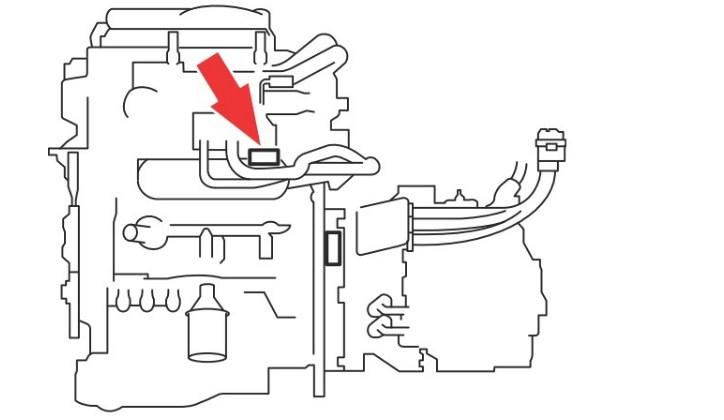Расположение номера двигателя Toyota 1NZ-FXE 1.5 л.