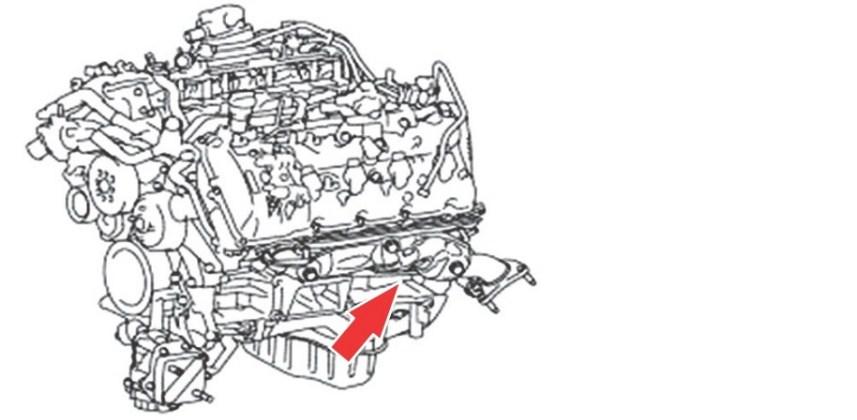 Расположение номера двигателя Toyota 1UR-FE 4.6 л.