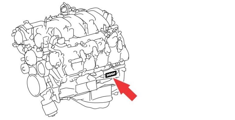 Расположение номера двигателя Toyota 1UR-FSE 4.6 л.