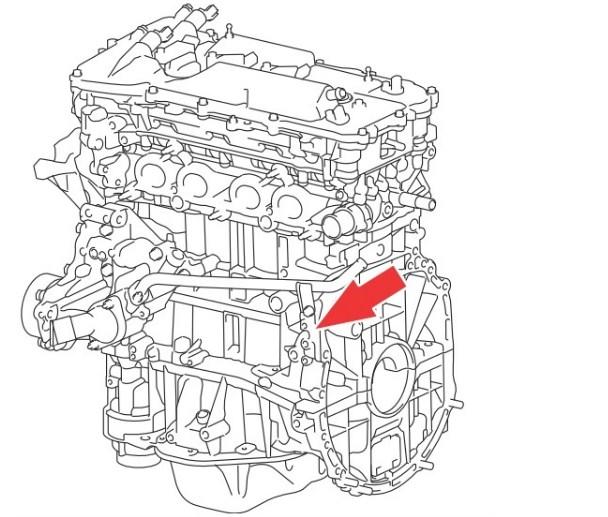 Расположение номера двигателя Toyota 2AR-FE 2.5 л.