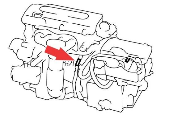 Расположение номера двигателя Toyota 2AZ-FXE 2.4 л.