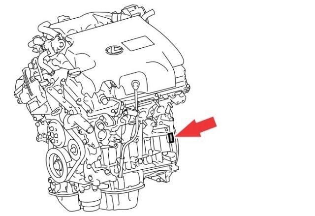 Расположение номера двигателя Toyota 2GR-FXE 3.5 л.