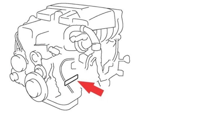 Расположение номера двигателя Toyota 2JZ-GE 3.0 л.