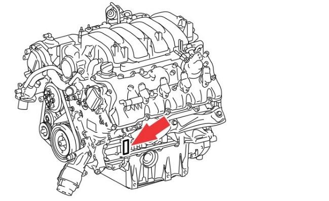 Расположение номера двигателя Toyota 2UR-FSE 5.0 л.