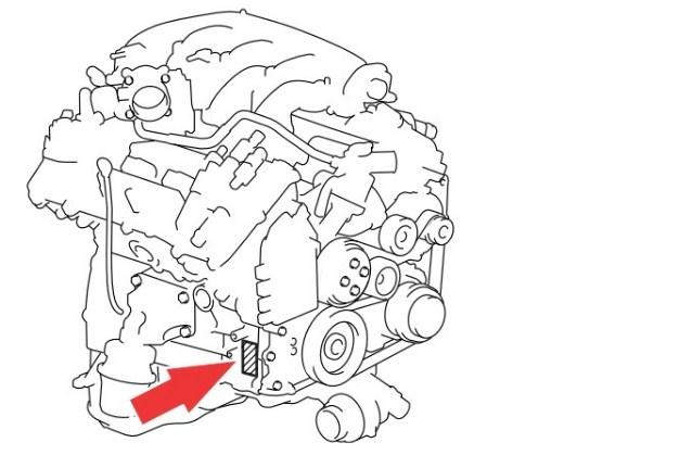 Расположение номера двигателя Toyota 3GR-FE 3.0 л.