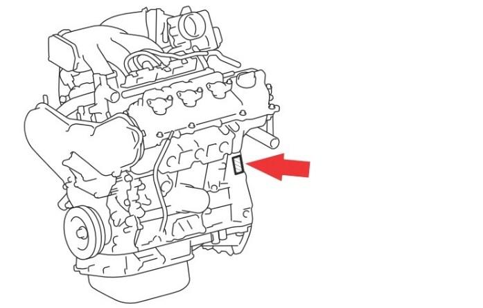 Расположение номера двигателя Toyota 3MZ-FE 3.3 л.