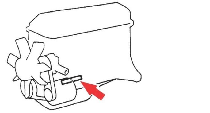 Расположение номера двигателя Toyota 3RZ-FE 2.7 л.