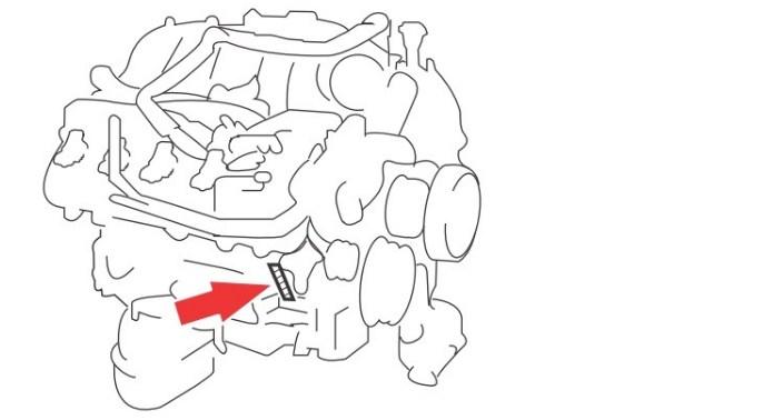 Расположение номера двигателя Toyota 3UR-FE 5.7 л.