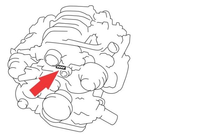 Расположение номера двигателя Toyota 3UZ-FE 4.3 л.