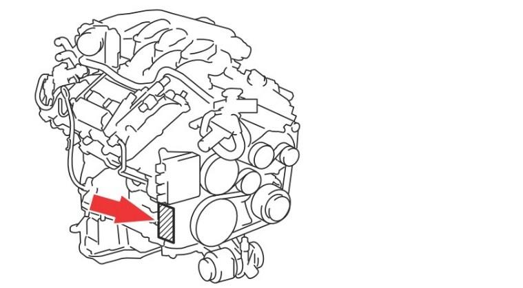 Расположение номера двигателя Toyota 4GR-FSE 2.5 л.