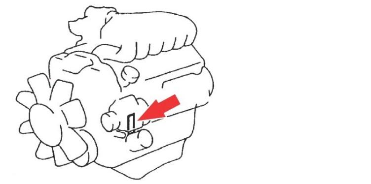 Расположение номера двигателя Toyota 5VZ-FE 3.4 л.