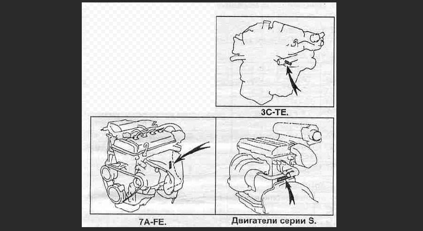 Расположение номера моторов Toyota Caldina